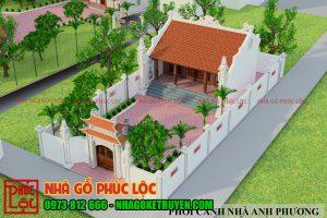 Cảnh nhà thờ 3 gian được phối màu 3D đẹp