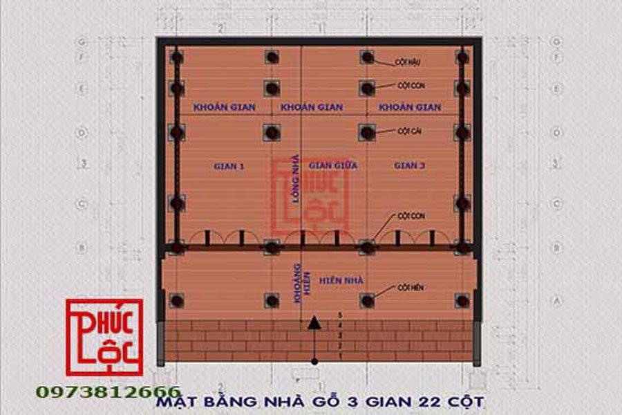 Bản vẽ nhà 3 gian 22 cột