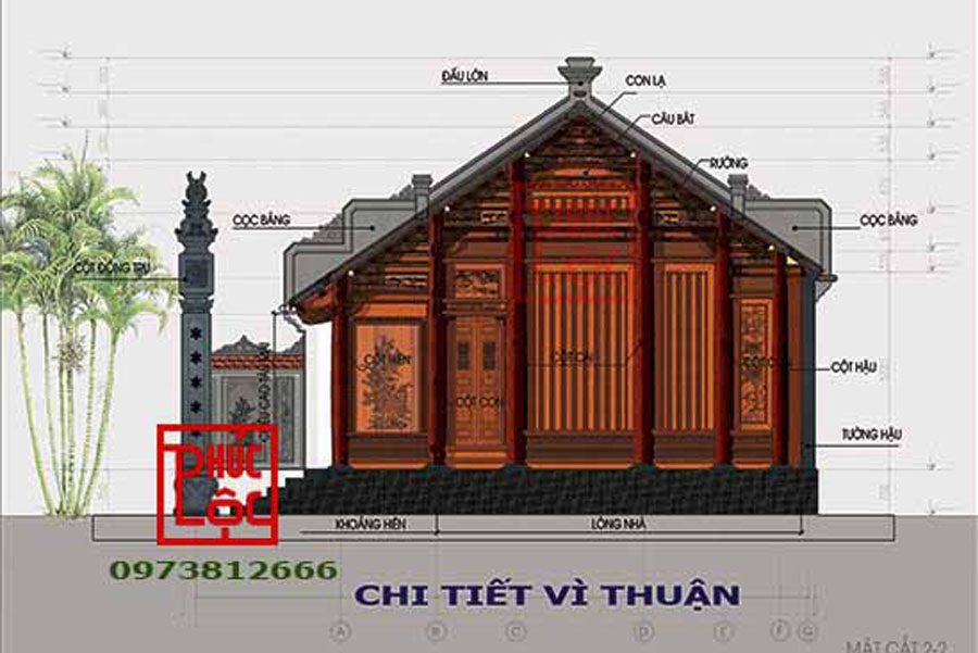 bản vẽ nhà có cột đồng trụ