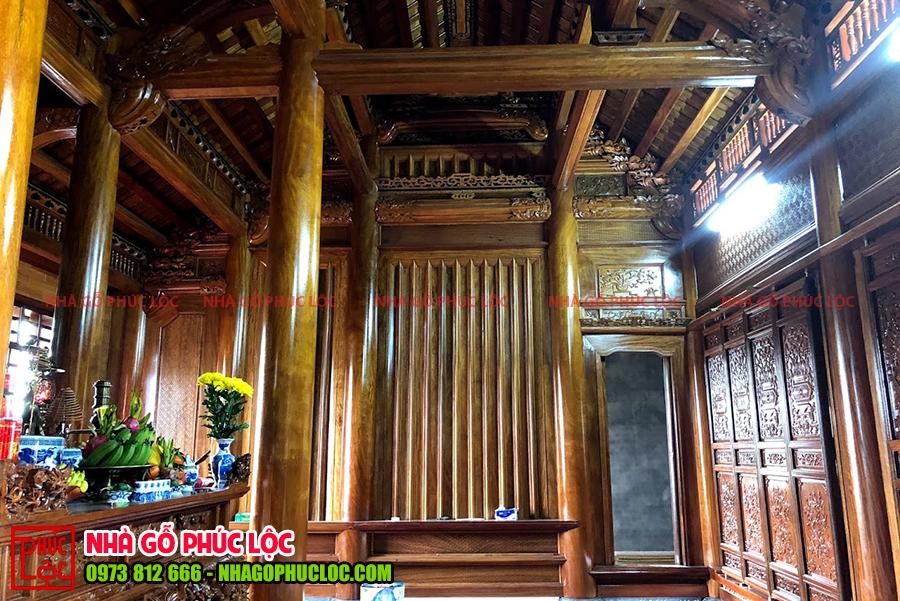 Bên trong ngôi nhà gỗ lim 5 gian cổ truyền