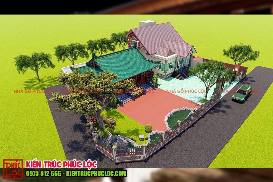 Tổng thể căn nhà gỗ 3 gian 4 mái cổ truyền