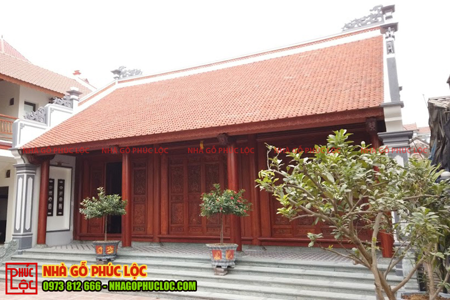 Tổng thể công trình nhà gỗ cổ truyền 3 gian